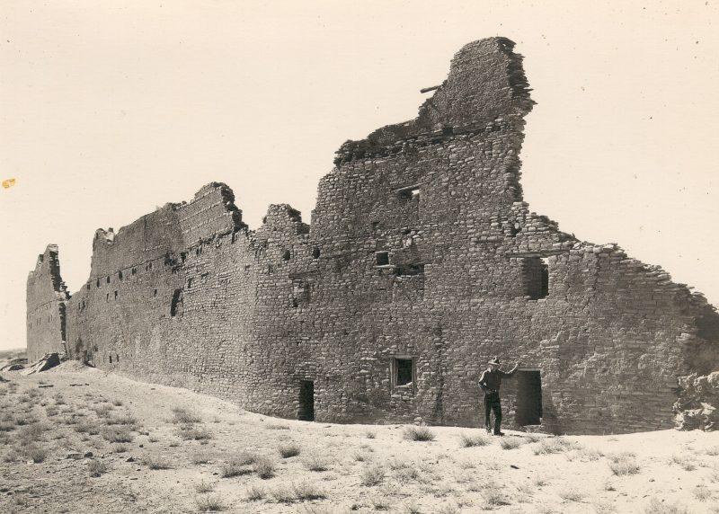 Photo of back, curved wall (north) of Pueblo Bonito, circa 1929