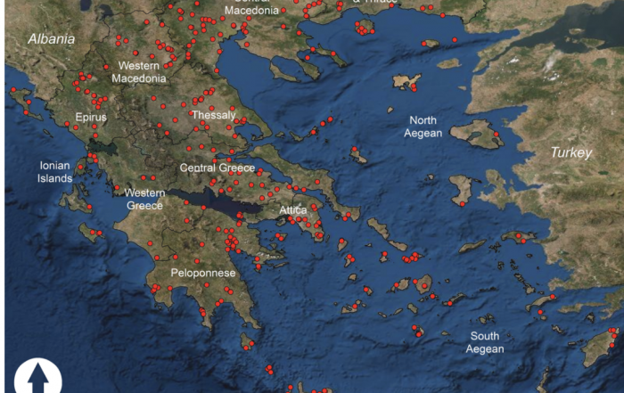 Map of Greek C14 sites