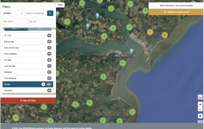 Map of Roman finds in the Deben Estuary, England