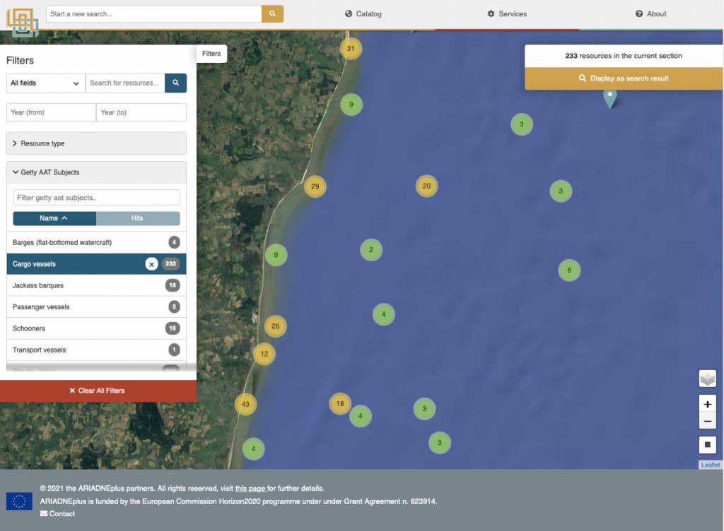Location of cargo vessel wrecks, East Coast, England